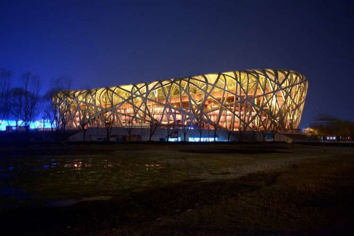 China's National Stadium, known as the Bird's Nest, before Earth Hour in Beijing on March 19, 2016.