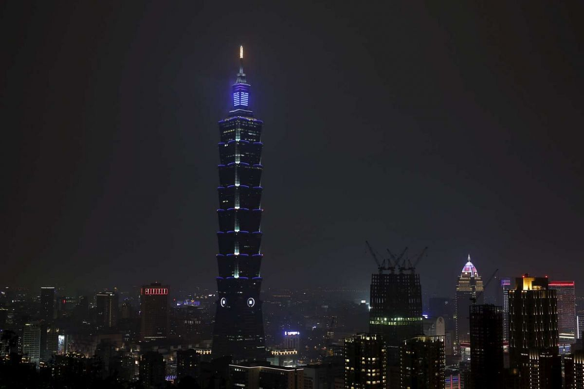 The Taipei 101 building before Earth Hour in Taipei on March 19, 2016.