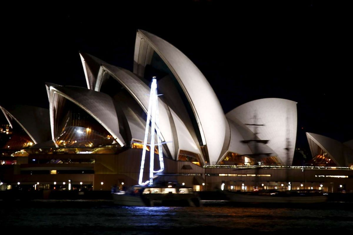 The Sydney Opera House before Earth Hour in Sydney on March 19, 2016.