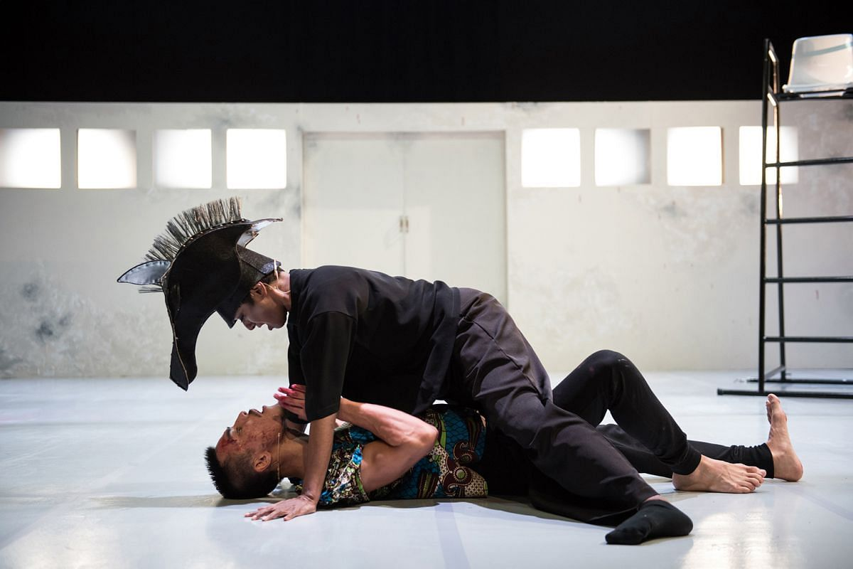 Jo Kukathas and Thomas Pang (both above) play out brutal power struggles in the relationship between Ophelia and Hamlet.