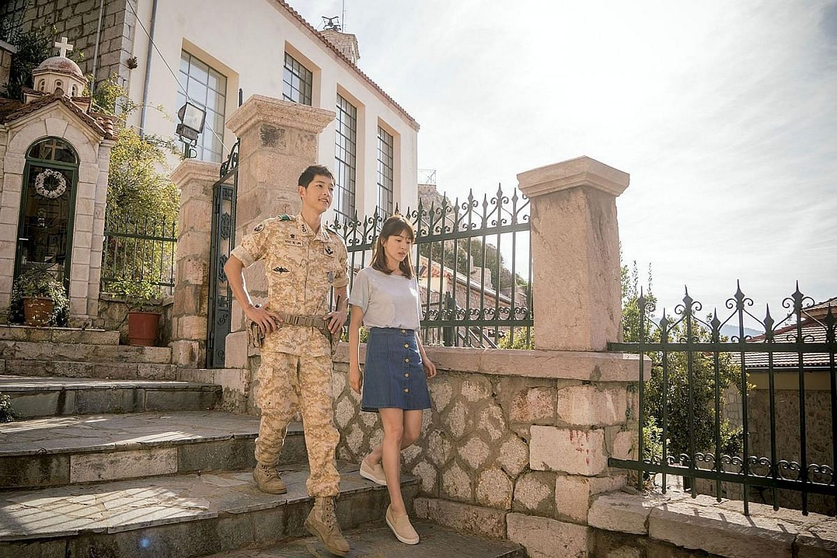 Song Joong Ki (far left) and Song Hye Kyo in Descendants Of The Sun, which was shot on location in Greece. Kim Soo Hyun (far left) and Gianna Jun in My Love From The Star.