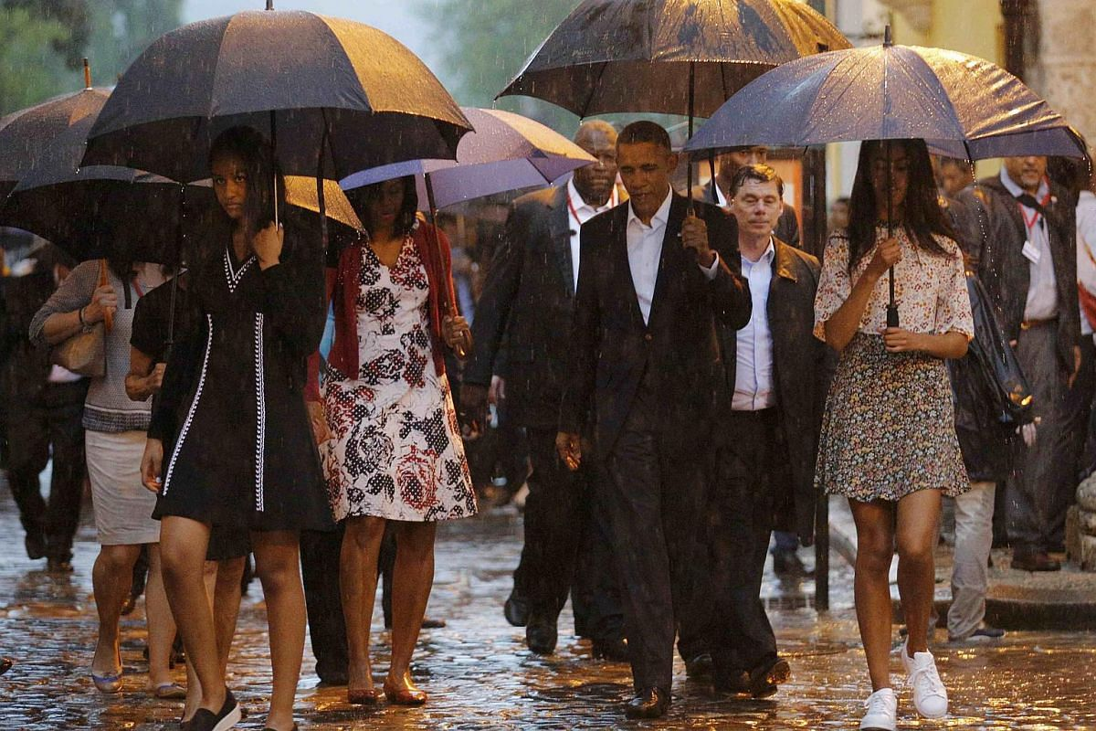 US President Barack Obama visiting Old Havana with his family at the start of his three-day visit to Cuba.