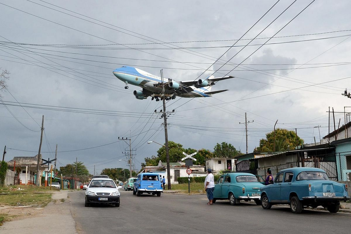 Air Force One carrying US President Barack Obama and his family flies over a Havana neighbourhood.