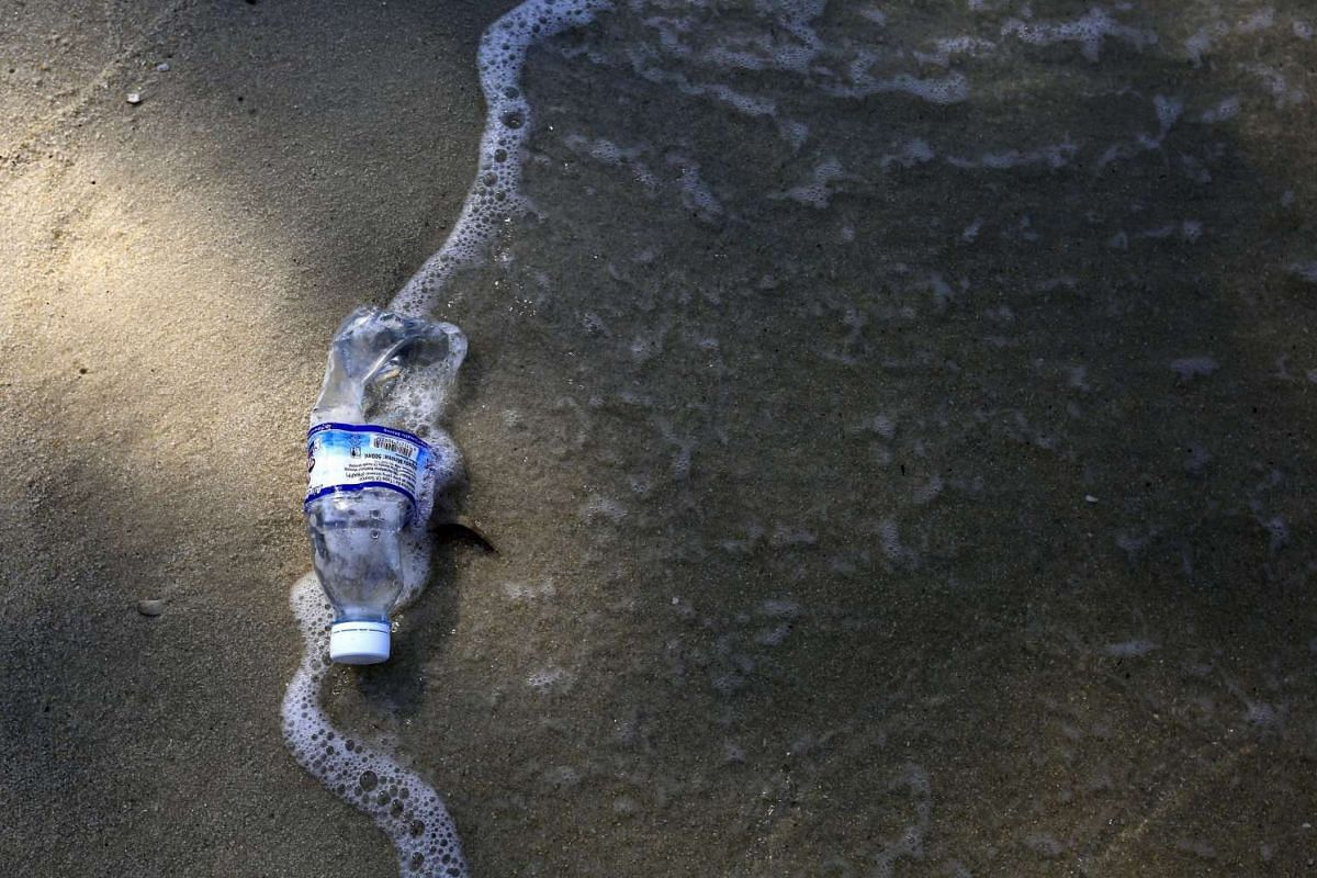 A plastic bottle lies on the sand at Telak Duyung, or Monkey Beach, inside the Penang National Park, in Malaysia, on March 13, 2016.