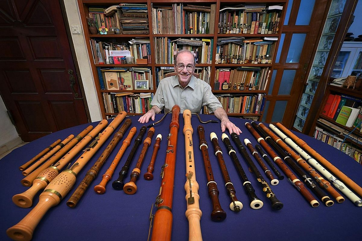 "At last count, Associate Professor Geoffrey Benjamin, an early-music enthusiast, has in his collection ""at least"" 24 recorders of various sizes and from various periods, ranging from the Renaissance to the baroque as well as later forms. He also has"