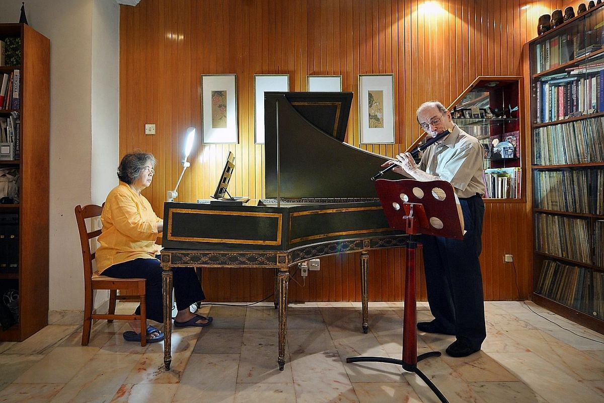 """At last count, Associate Professor Geoffrey Benjamin, an early-music enthusiast, has in his collection """"at least"""" 24 recorders of various sizes and from various periods, ranging from the Renaissance to the baroque as well as later forms. He also has"""