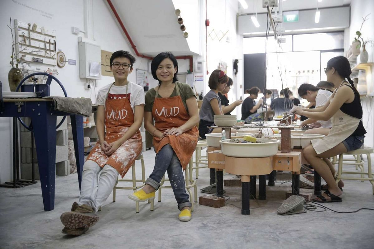 Their business has proven so popular that Mud Rock Ceramics co-founders Michelle Lim (far left) and Ng Seok Har have set up two studios in Towner Road and Maude Road (above).