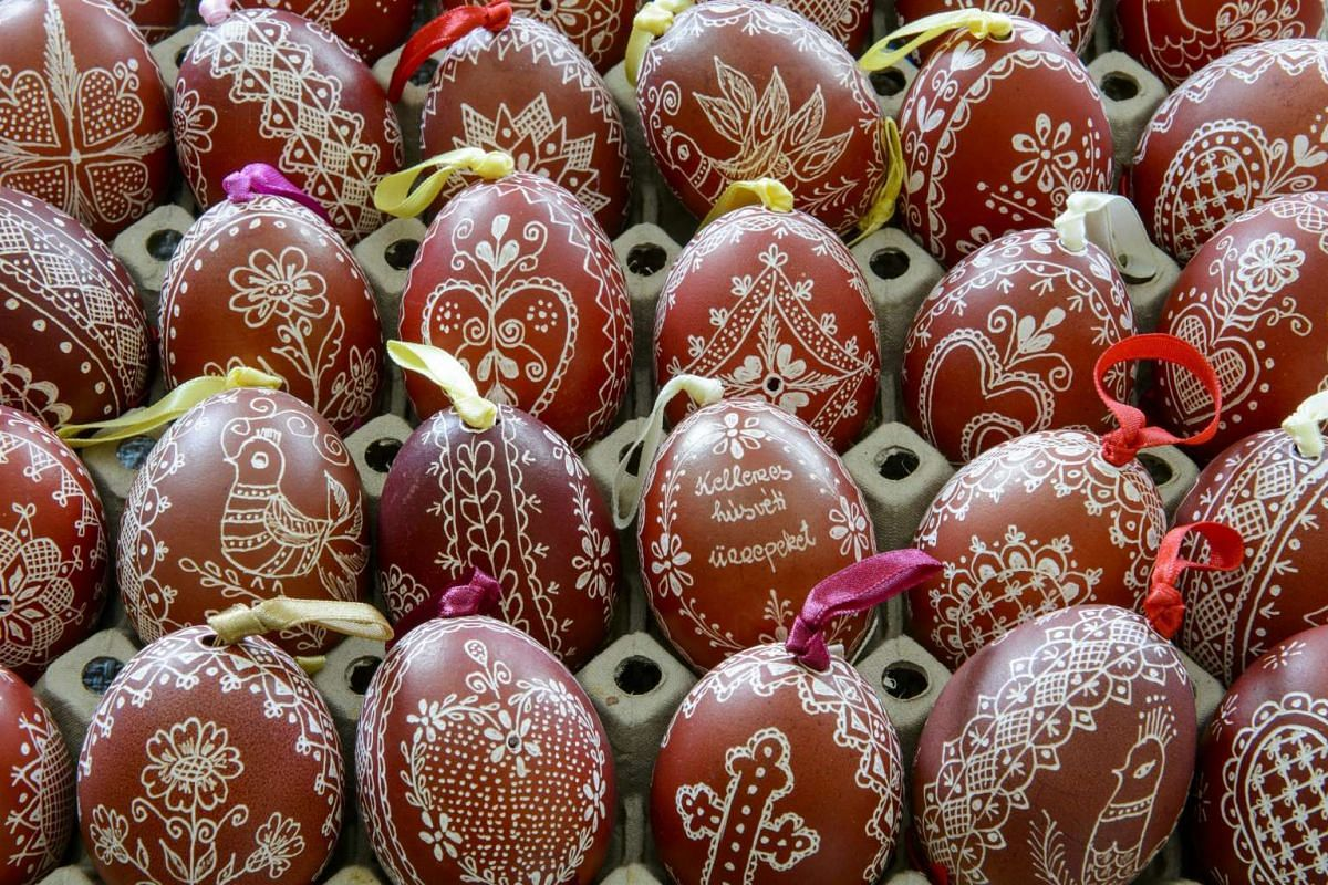 A view of Easter eggs made with a carving technique by folk artist Piroska Szabo Pethone in Nemti, 100kms northeast of Budapest, Hungary, on March 25, 2016.