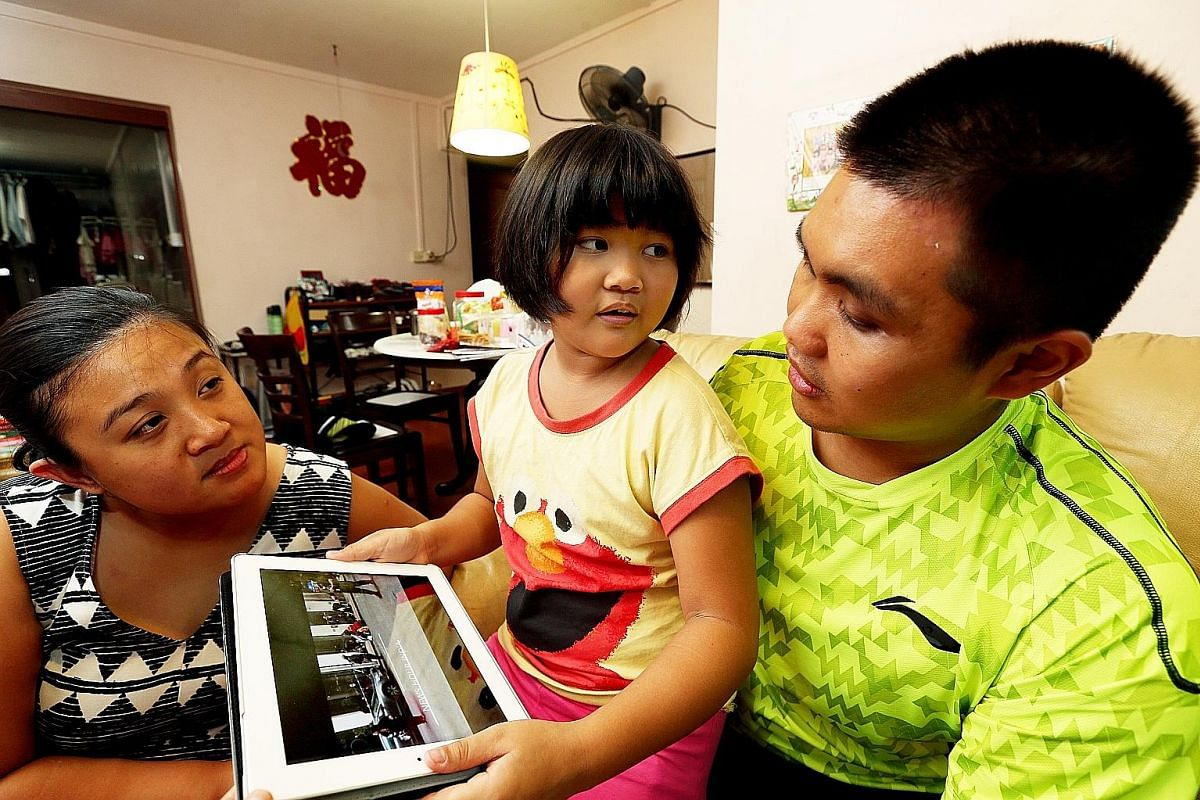 Mr Teddy Wong (above) with his wife Joyce and their seven-year-old daughter Michelle. Ms Nazhath Faheema (left) with her husband Adil Akbar Khan, six-year-old daughter Fatima Zahra and four-year-old son Jamaluddin.