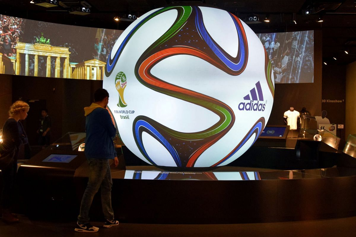 An oversized version of the adidas Brazuca football, which was used in the 2014 World Cup, on display at the German Football Museum.