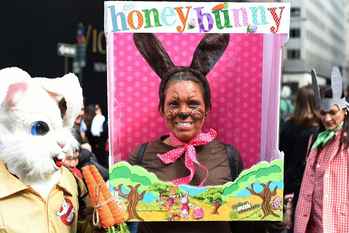 Easter bunny inspired costumes are a common sight during the annual Easter Parade and Easter Bonnet Festival in New York City, on March 27, 2016.