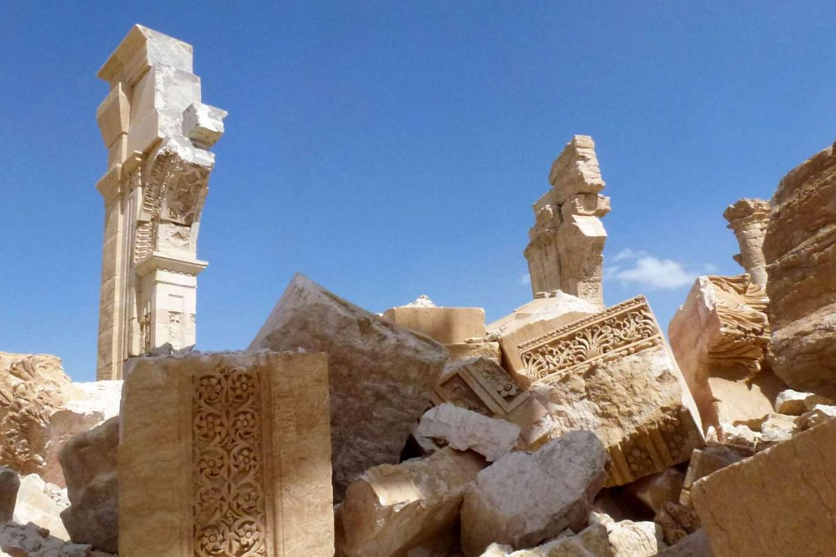 The remains of the Arc de Triomph (Triumph Arc) monument that was destroyed by ISIS militants, seen on March 27, 2016.