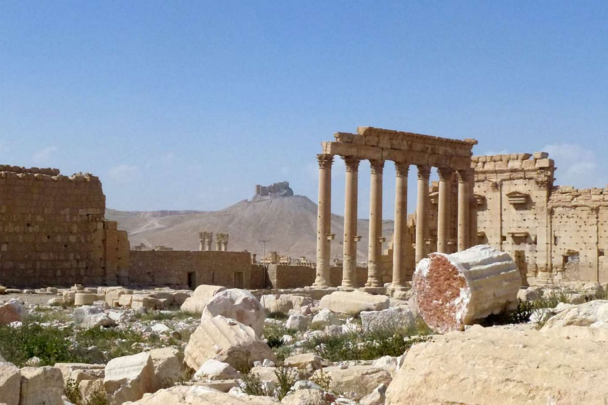 The ancient city of Palmyra with the citadel in the background, on March 27, 2016.