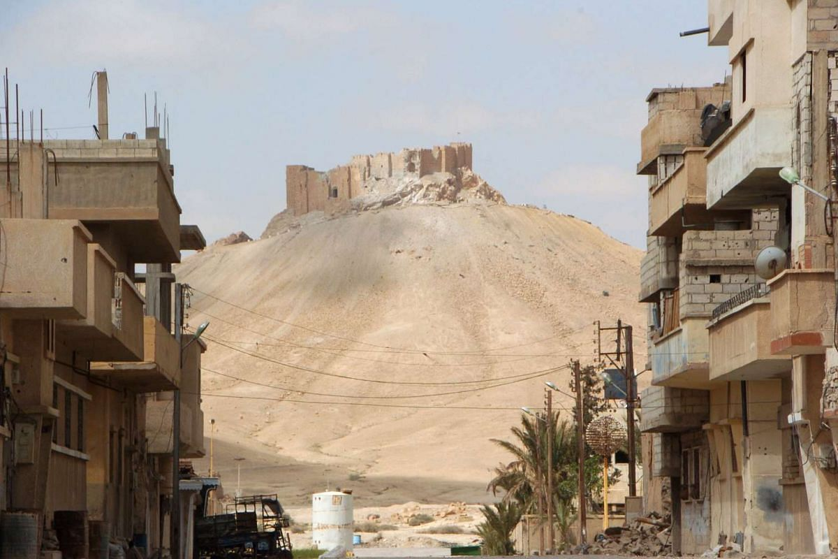View of the citadel of the ancient city of Palmyra after Syrian troops recaptured the city from ISIS on March 27, 2016.