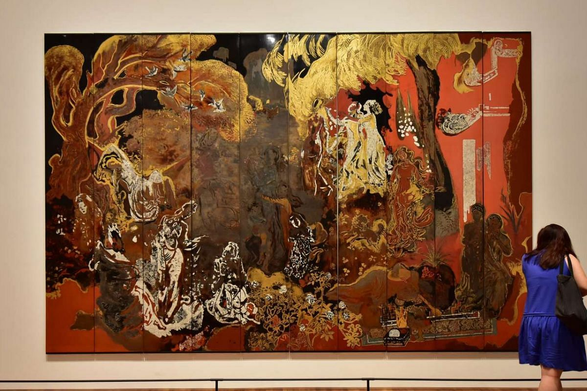 The Fairies (1936), a 2.9m by 4.4m lacquer painting by Vietnamese artist Nguyen Gia Tri, on display at the National Gallery Singapore's Reframing Modernism show.