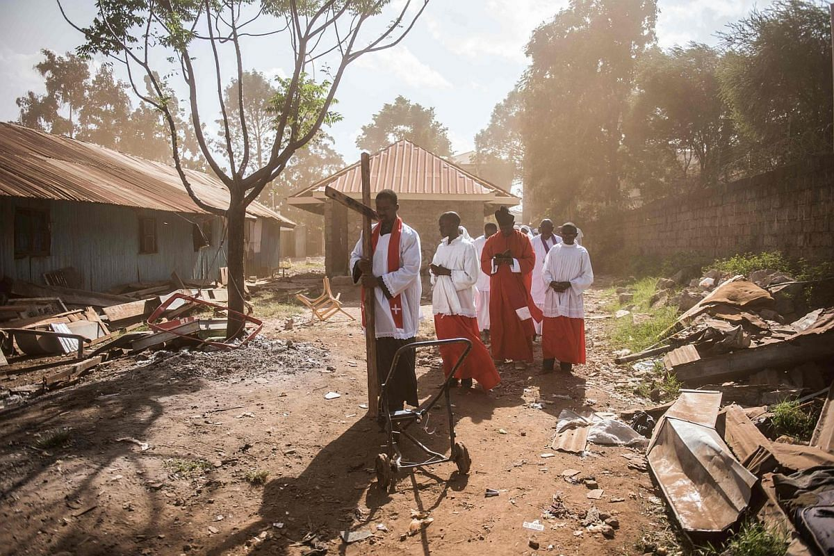 Members of the Legio Maria African Mission church making a procession marking Good friday in Nairobi on March 26, 2016.