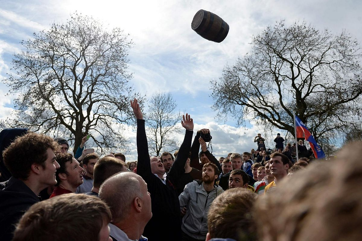 The Easter Monday Bottle Kicking Match takes place near the village of Hallaton, on March 28, 2016.