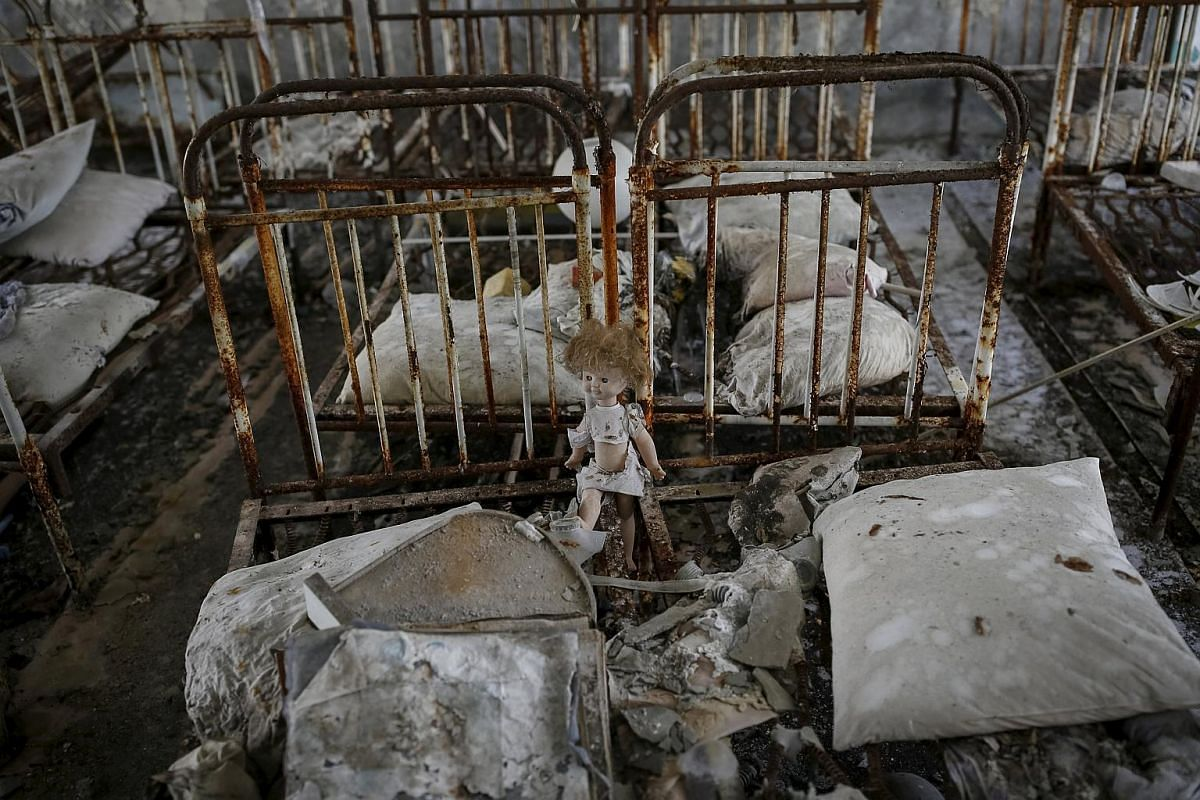 The scene at a kindergarten in the abandoned city of Pripyat on March 28, 2016.