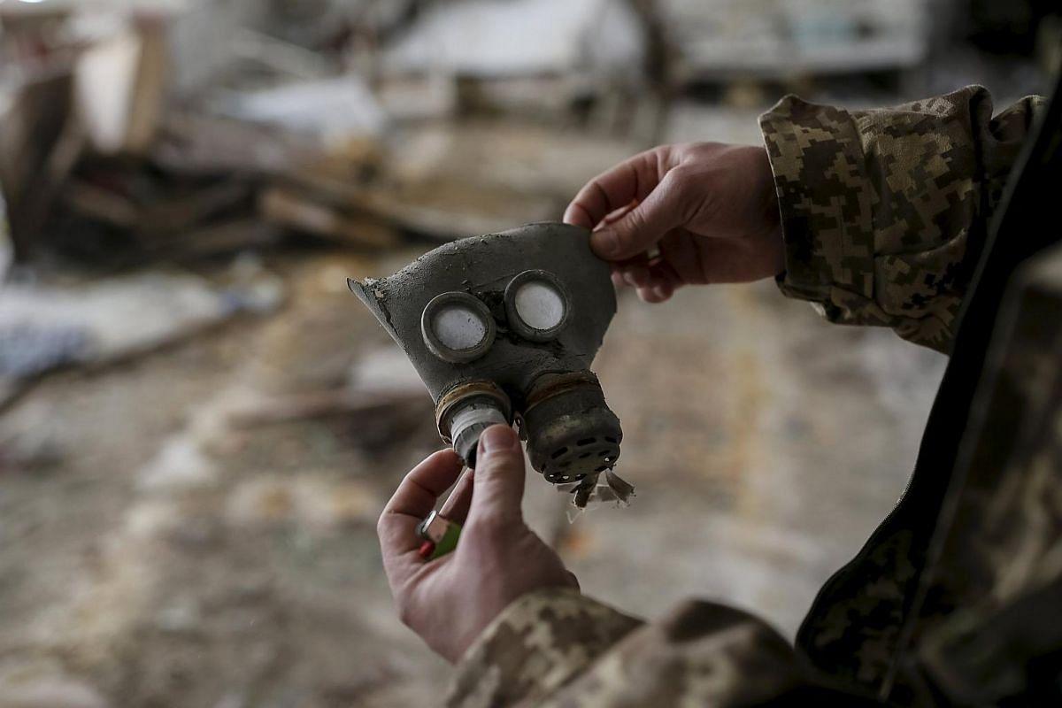 A children's gas mask at a kindergarten in Pripyat, Ukraine, on March 28.