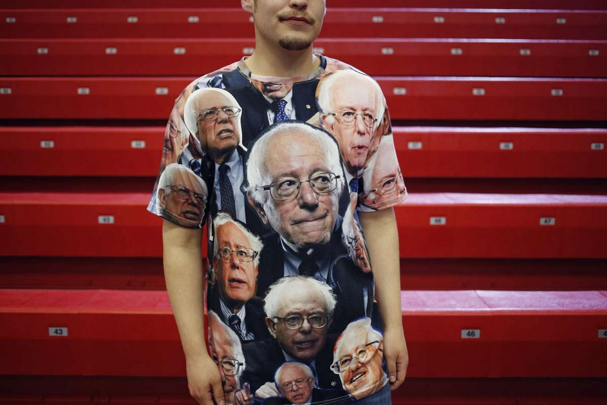 An attendee wearing a shirt in support of Democratic presidential candidate Bernie Sanders, in Wisconsin, on March 30, 2016.