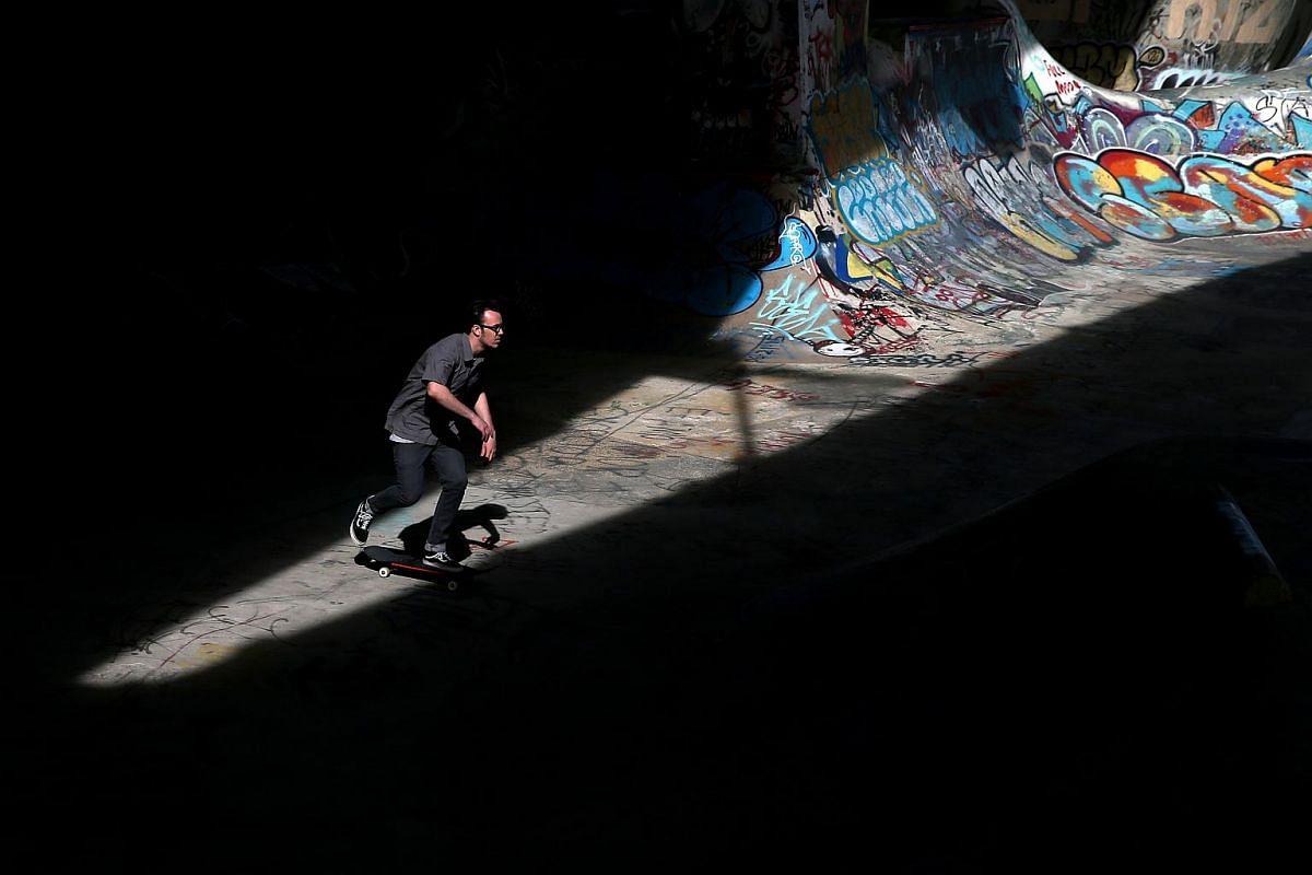 A man skateboarding at FDR Skatepark in Philadelphia, Pennsylvania, on March 30, 2016.