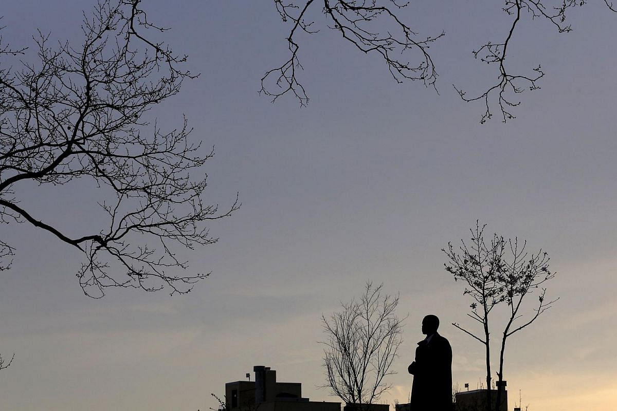 A secret service agent standing watch ahead of campaign rally for US Democratic presidential candidate Bernie Sanders at Saint Mary's Park in Bronx, New York on March 31, 2016.