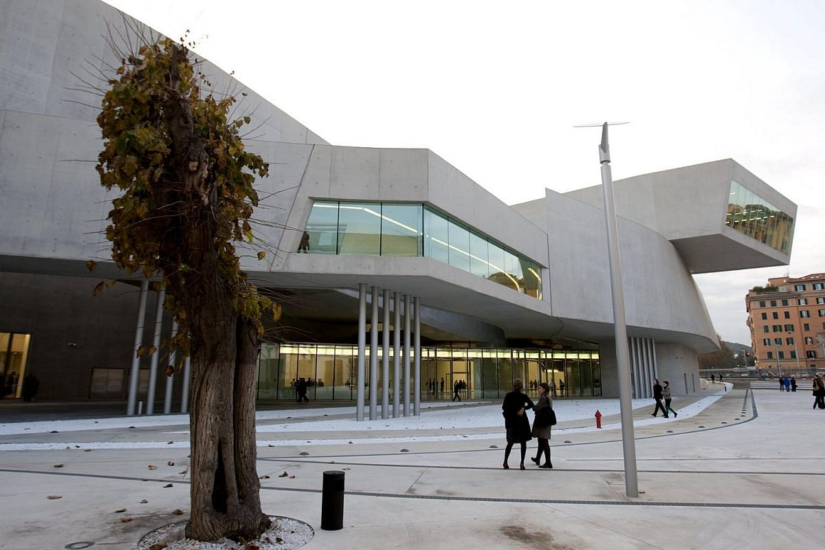 Guests outside the Maxxi museum of contemporary art and architecture in Rome in 2009.