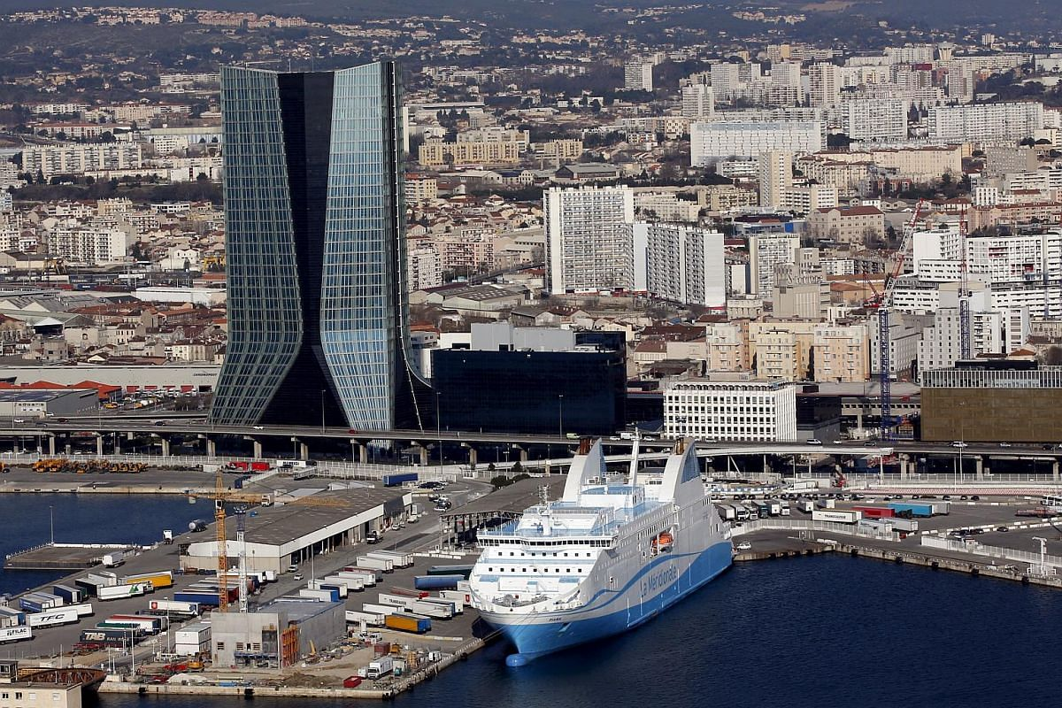 An aerial view of the CMA-CGM headquarters (left), designed by Hadid, in Marseille, France.