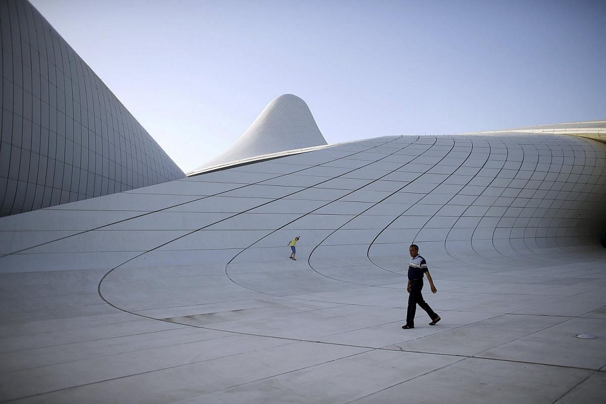 Heydar Aliyev cultural center, Baku (2012): The 619,000 sq ft complex in Azerbaijan's capital won the London Design Museum award in 2014, with one judge describing it as pure and sexy as Marilyn Monroe's blown skirt.