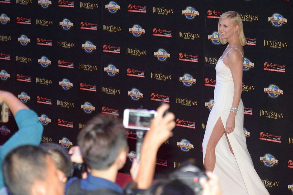 Hollywood star Charlize Theron hits the red carpet for the premiere of fantasy-action movie The Huntsman: Winter's War.