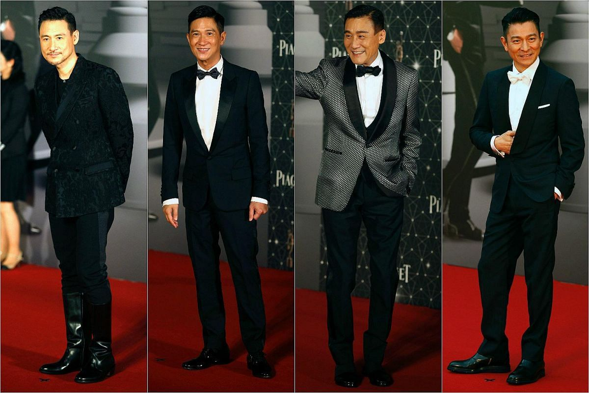 From left: Actors Jacky Chueng, Nick Cheung, Tong Leung and Andy Lau hit the red carpet.
