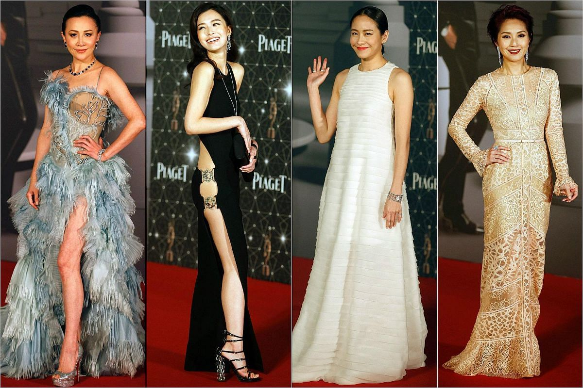 From left: Actresses Carina Lau, Janice Man,  Karena Lam and Miriam Yeung pose on the red carpet.