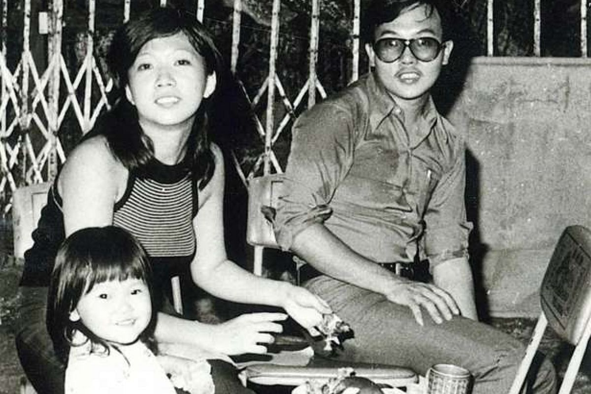 My life so far: Ms Angelita Teo at age two with her parents, Margaret and Henry Teo, in 1974.