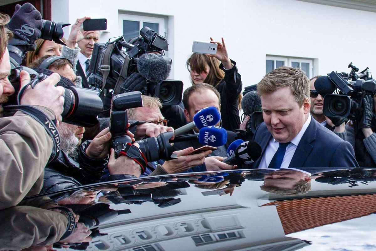 Iceland's Prime Minister Sigmundur David Gunnlaugsson leaves the residence of Iceland's President President Olafur Ragnar Grimsson after a meeting of the two on April 5, 2016 in Reykjavik, Iceland. The Prime Minister resigned today following allegati