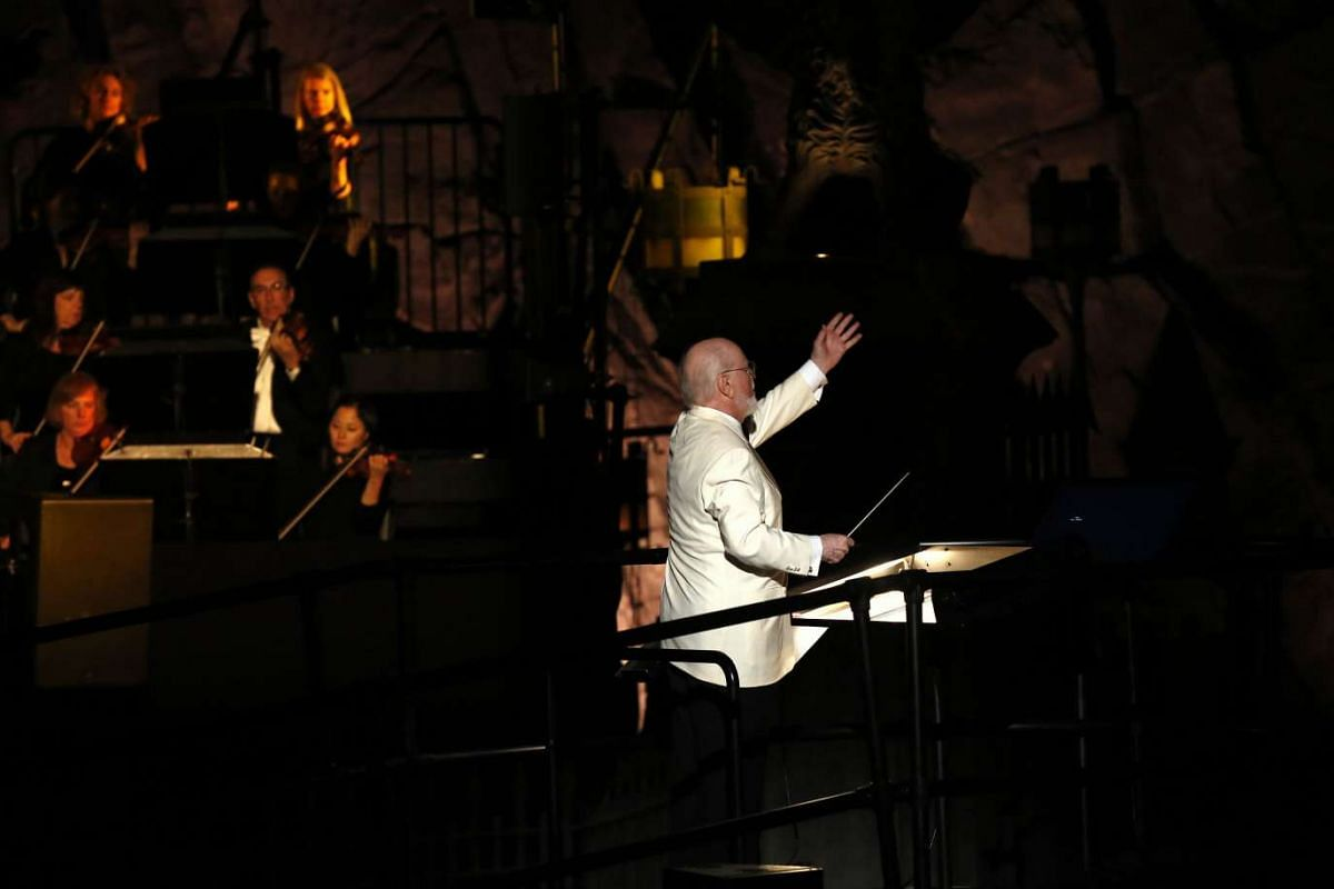 Composer John Williams directs the Los Angeles Philharmonic at The Wizarding World Of Harry Potter at Universal Studios Hollywood, California on April 5, 2016.
