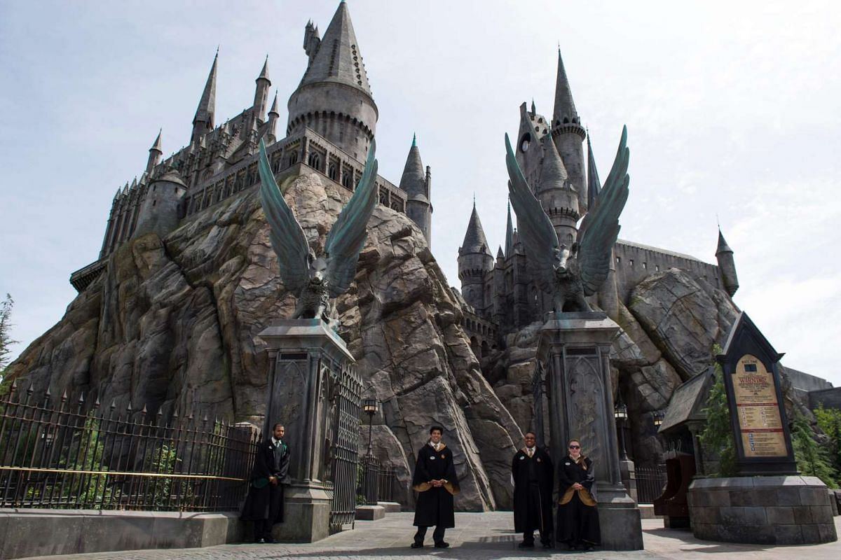An exterior view of Hogwarts is seen during the 'Wizarding World of Harry Potter Opening' press preview at Universal Studios Hollywood in Studio City, California, on April 6, 2016. PHOTO: AFP