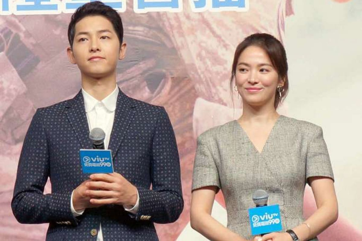 Actors Song Joong Ki and Song Hye Kyo (both above) in Hong Kong to promote the hit drama Descendants Of The Sun.