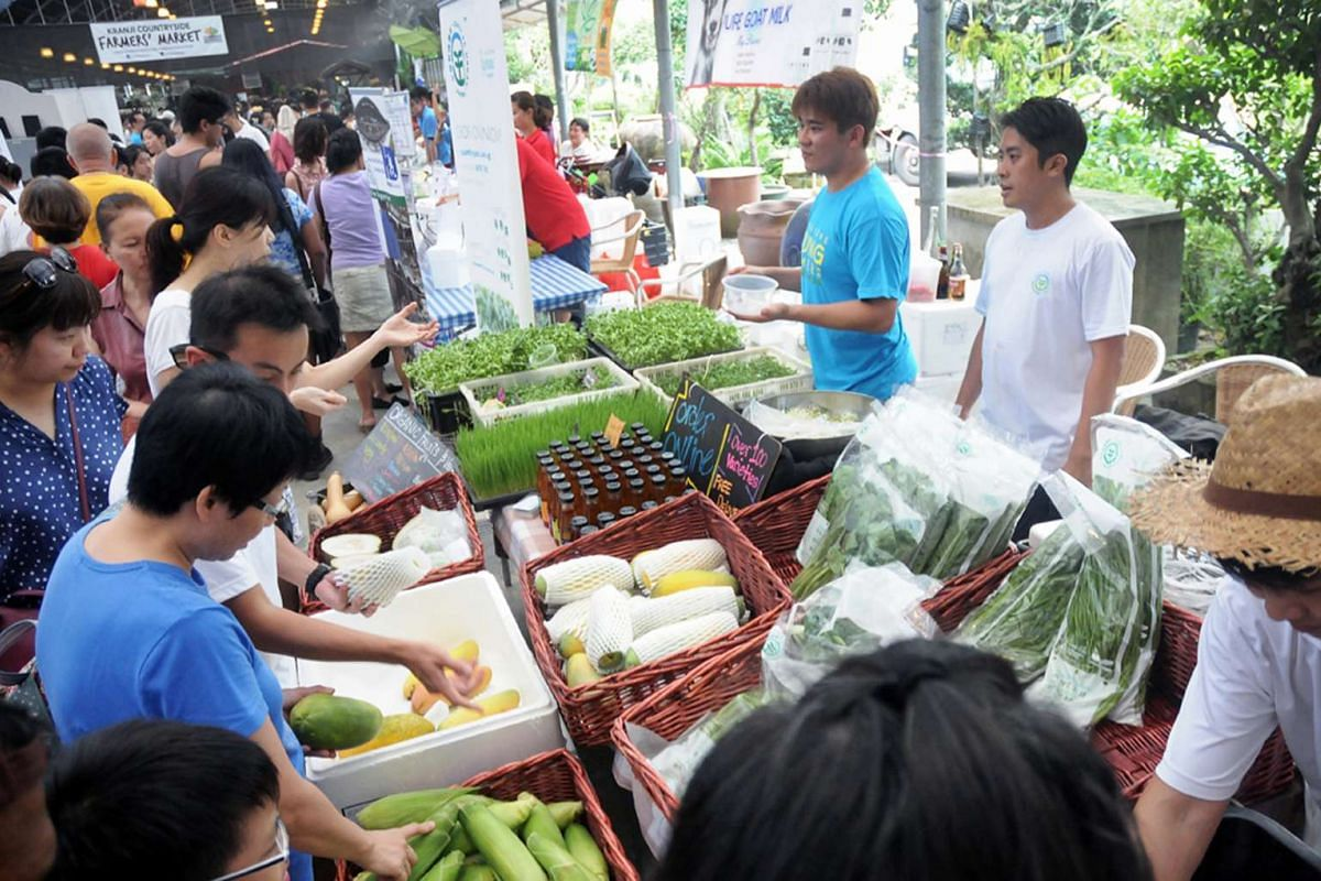You can buy eggs and fresh produce at the Kranji Countryside Farmers' Market.