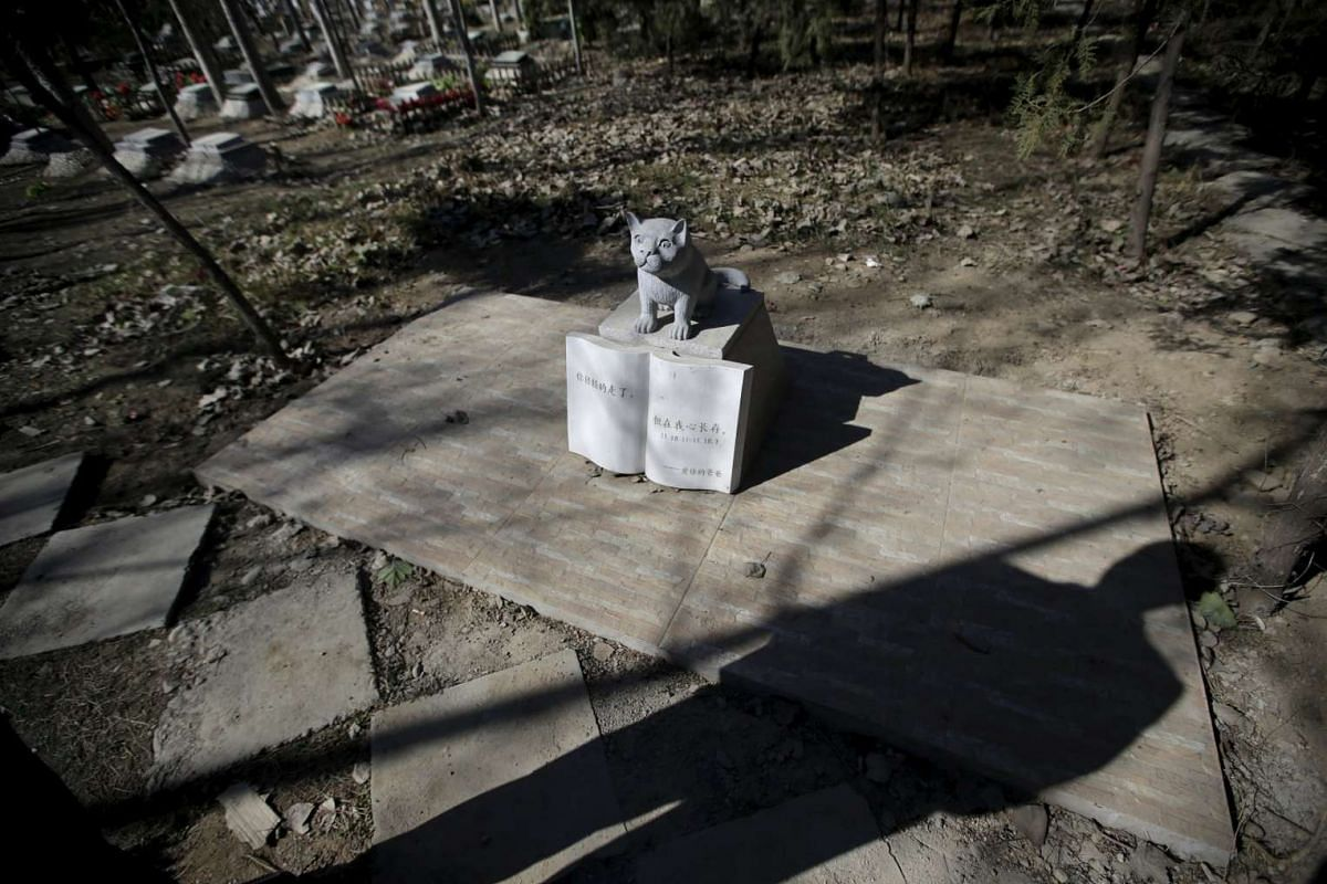 A pet owner standing next to a tomb with a dog statue at Baifu pet cemetery ahead of the Qingming Festival on the outskirts of Beijing, China, on March 27, 2016.