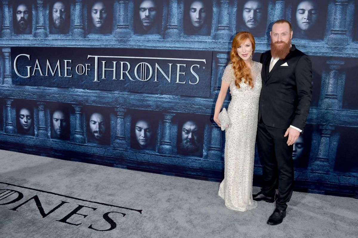 Kristofer Hivju (right) and Gry Molvær attend the premiere of HBO's Game Of Thrones Season 6 at TCL Chinese Theatre on April 10, 2016 in Hollywood, California.