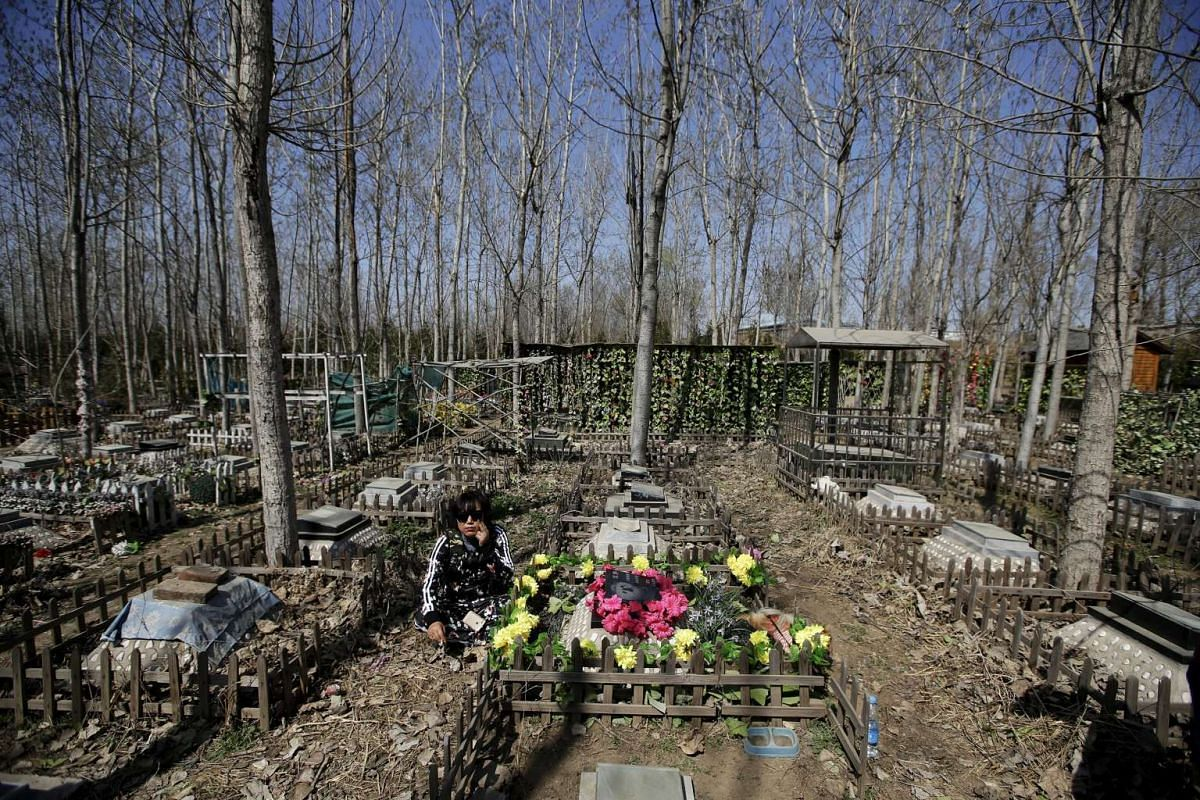 """Pet owner Qingqiu sitting next to the tomb of her first dog Huoban (which means """"Buddy"""" in Chinese), who died at the age of 15, ahead of the Qingming Festival at Baifu pet cemetery on the outskirts of Beijing, China, on March 26, 2016."""