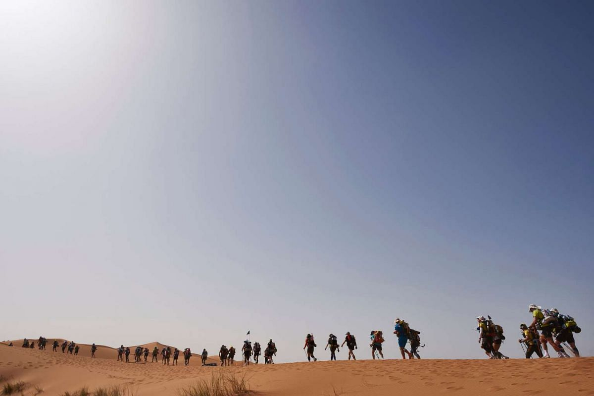 Competitors take part in the 31st edition of the Marathon des Sables, on April 10, 2016.
