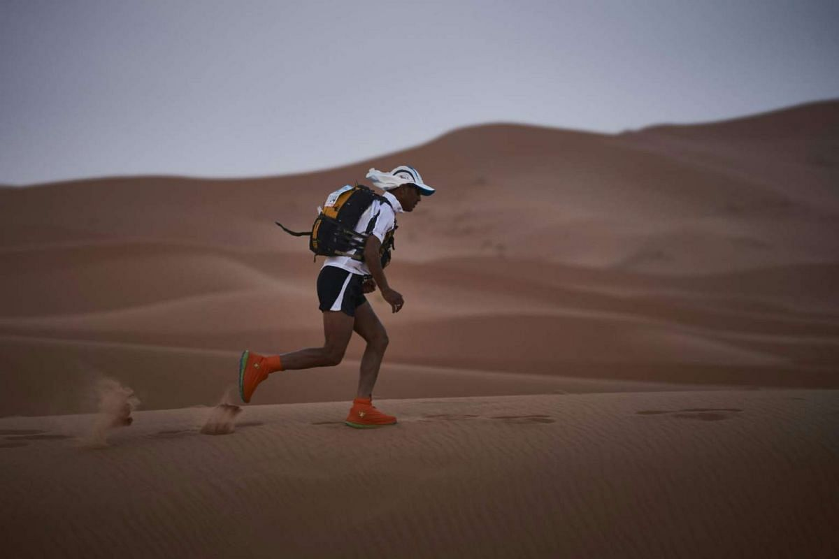 A competitor trains on the eve of the 31st edition of the Marathon des Sables, on April 9, 2016.