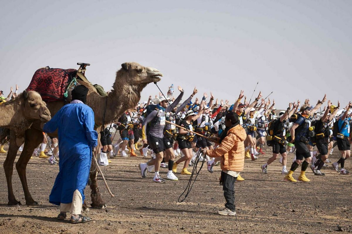Competitors take part in the 31st edition of the Marathon des Sables on April 10, 2016.