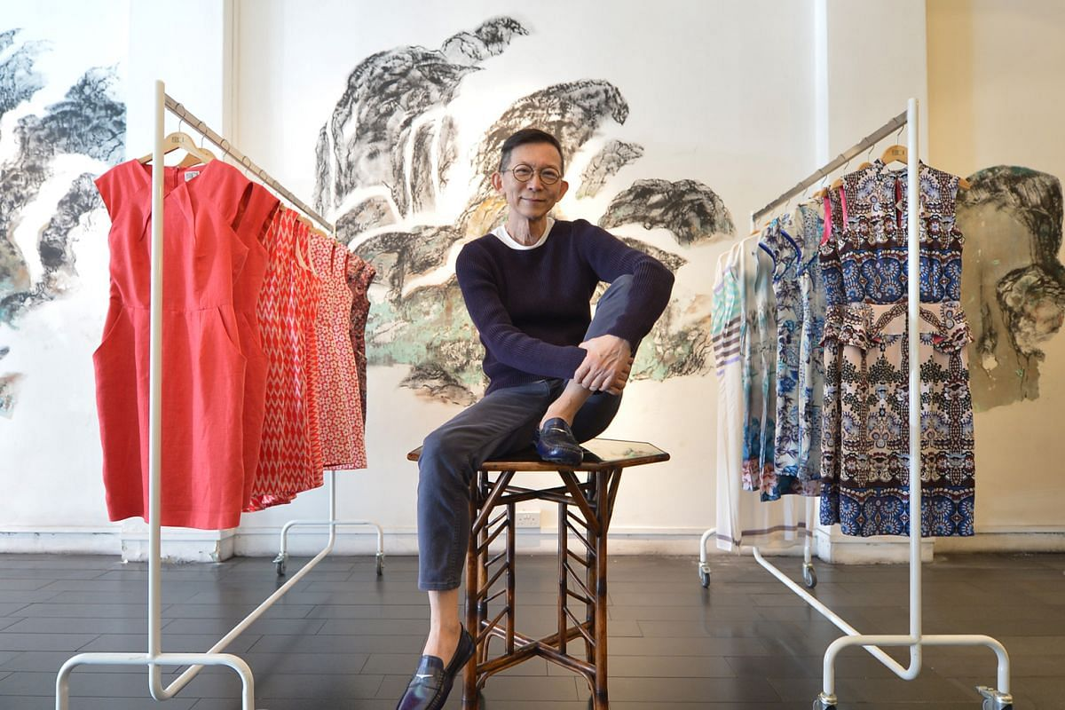 The Chinese calligraphystyle landscape artwork on the walls of fashion designer Peter Kor's boutique in Purvis Street is crafted from the raw original walls of the shophouse.