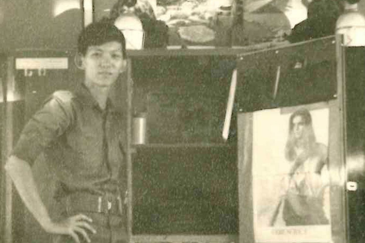 My life so far: Peter Kor at age 16 and serving national service (above).