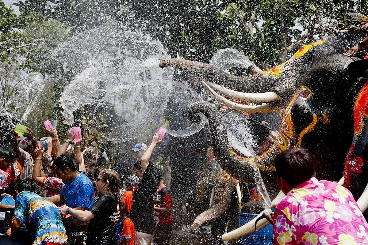 People are sprayed with water thrown by elephants in Ayutthaya, Thailand, on April 11.
