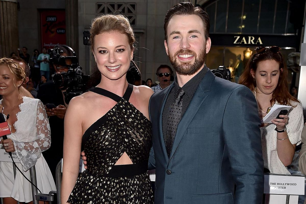 Actors Emily VanCamp (left) and Chris Evans attending the premiere of Marvel's Captain America: Civil War at Dolby Theatre on April 12, 2016.