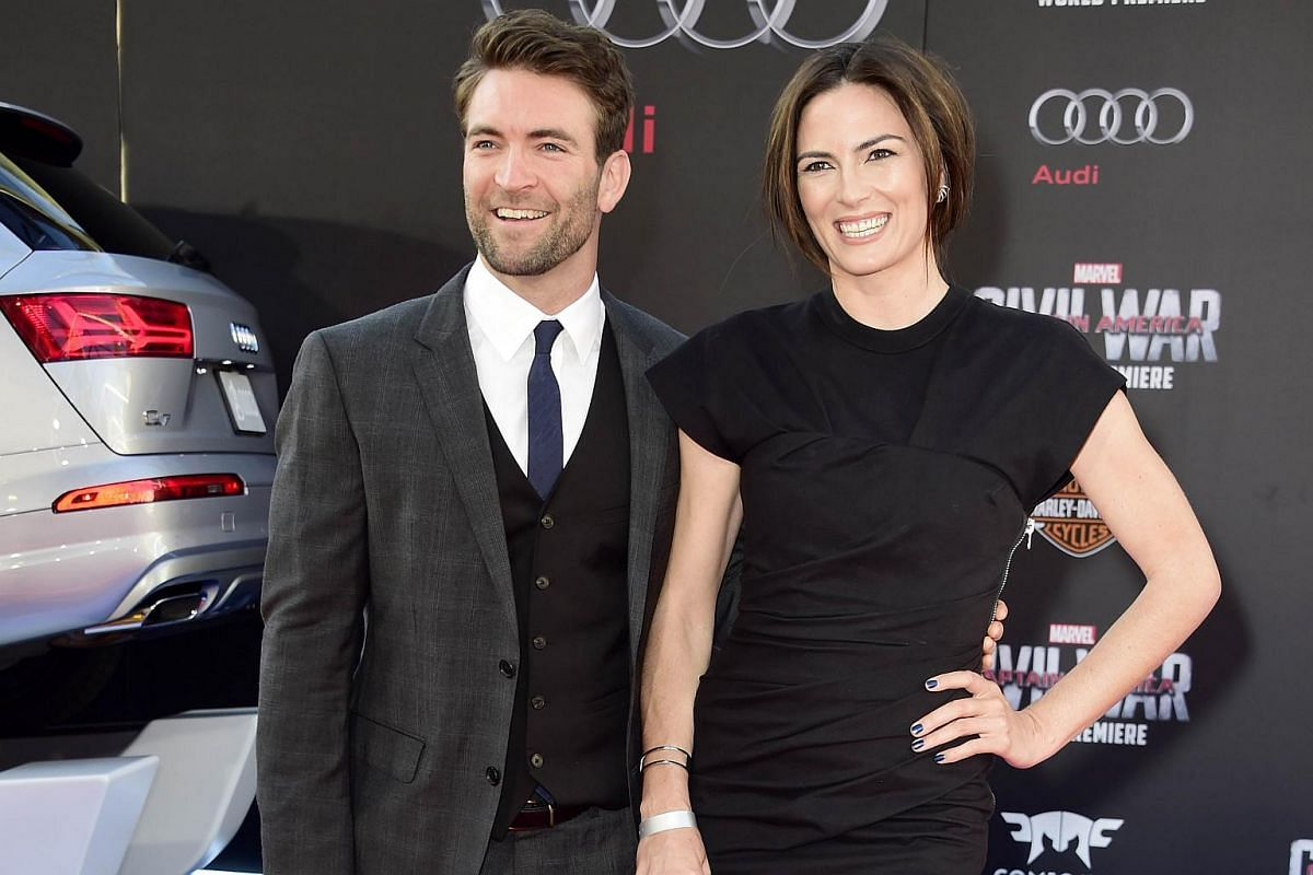 Actor Sam Hargrave (left) and stuntman Monique Ganderton attend the premiere of Marvel's Captain America: Civil War at Dolby Theatre on April 12, 2016.