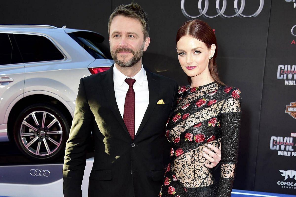 TV personality Chris Hardwick (left) and actress Lydia Hearst attending the premiere of Marvel's Captain America: Civil War at Dolby Theatre on April 12, 2016.